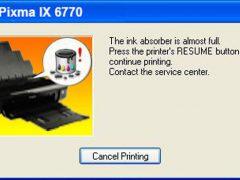 Cách reset máy in canon pixma IX 6770